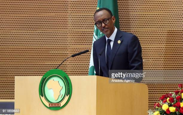President of Rwanda Paul Kagame speaks during closing session of the 30th African Union Heads of State and Government Summit in Addis Ababa Ethiopia...