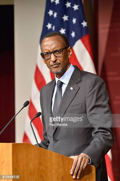 President of Rwanda since 2000 and allowed to serve until 2034 after the Rwandan constitution was ammended in 2015 President Paul Kagame speaks at...