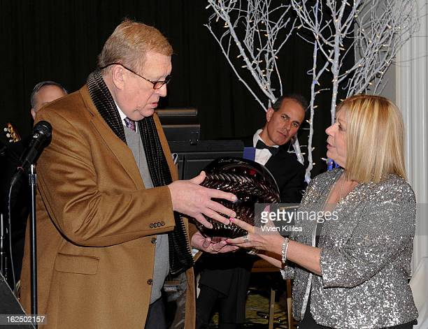 President of SAG Ken Howard accepts an award on behalf of Sean Penn from Nancee Borgnine at The Borgnine Movie Star Gala at Sportsmen's Lodge Event...