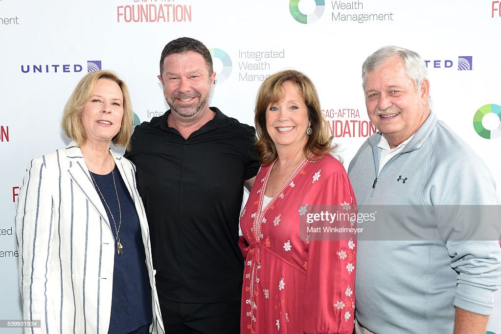 President of SAG-AFTA Foundation JoBeth Williams, President/CEO of Intergrated Wealth Management James Casey, Executive Director of SAG-AFTRA Foundation Cyd Wilson, and V.P. of SAG-AFTRA Foundation Dave Hutton arrive at SAG-AFTRA Foundation 7th annual L.A. Golf Classic Fundraiser on June 13, 2016 in Burbank, California.