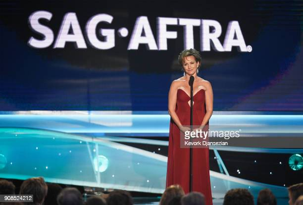 President of SAGAFTRA Gabrielle Carteris onstage during the 24th Annual Screen Actors Guild Awards at The Shrine Auditorium on January 21 2018 in Los...