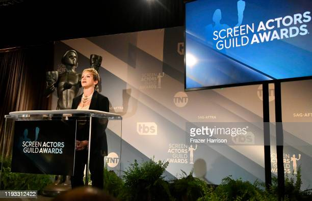 President of SAG-AFTRA, Gabrielle Carteris speaks at the 26th Annual Screen Actors Guild Awards Nominations Announcement at Pacific Design Center on...