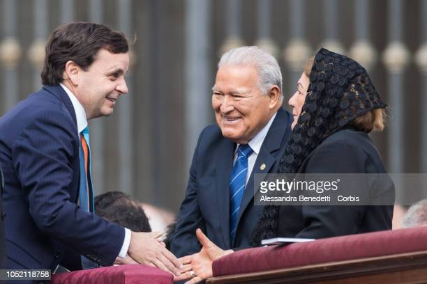 President of Salvador Salvador Sanchez Ceren attends the canonisation Ceremony presided by Pope francis of seven new Saints including Pope Paul VI...