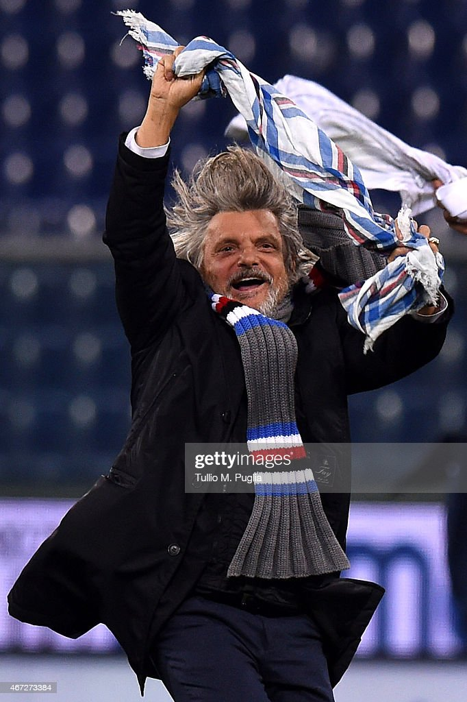 President of Sampdoria Massimo Ferrero celebrates after winning the Serie A match between UC Sampdoria and FC Internazionale Milano at Stadio Luigi Ferraris on March 22, 2015 in Genoa, Italy.