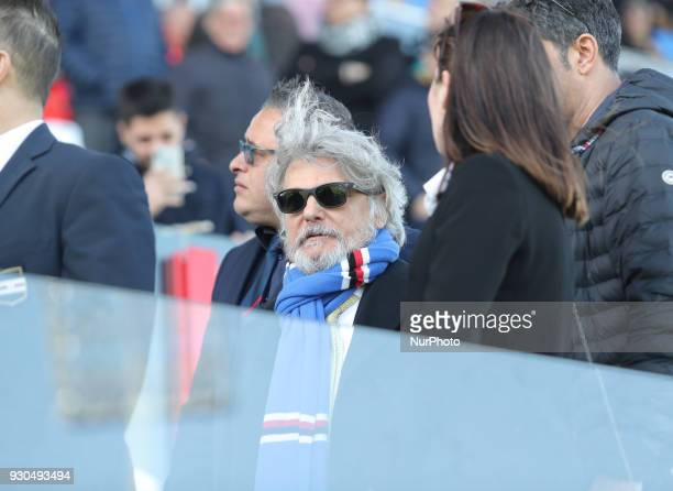 President of Sampdoria Massimo Ferrero during the Serie A match between FC Crotone and UC Sampdoria at Stadio Comunale Ezio Scida on March 11 2018 in...