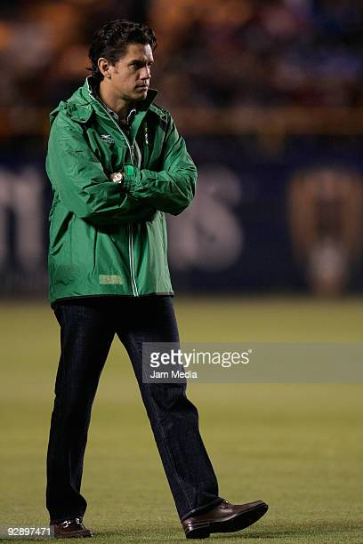 President of Santos Laguna Alejandro Irarragorri reacts during their match as part of the Closing 2009 Tournament in the Mexican Football League at...