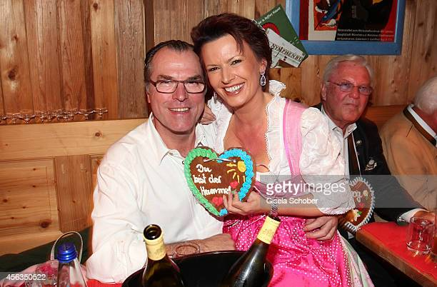 President of Schalke 04, Clemens Toennies and his wife Margit Toennies during Oktoberfest at Weinzelt/Theresienwiese on September 29, 2014 in Munich,...