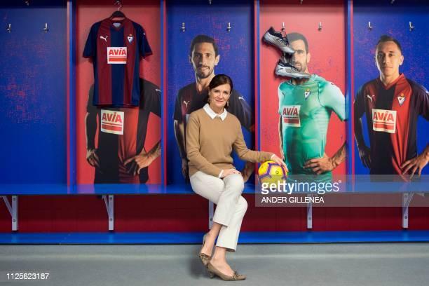 President of SD Eibar football club Amaia Gorostiza poses in the locker room of Ipurua stadium in Eibar on February 18 2019