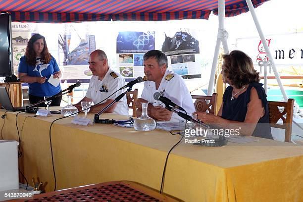 VESPUCCI NAPOLI CAMPANIA / NAPOLI ITALY President of Sea Mare Vivo Rosalba Giugni during the press conferenceThis morning at the port of Naples there...