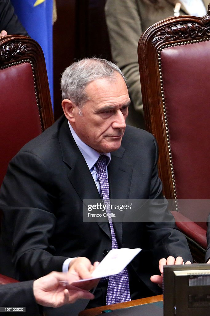 President of Senate Pietro Grasso counts the results of the vote afer Parliament votes for President of Republic on April 20, 2013 in Rome, Italy. After five ballots ended in deadlock the Italian Parliment has re-elected President Giorgio Napolitano for a second term following a last-minute deal between party chiefs.