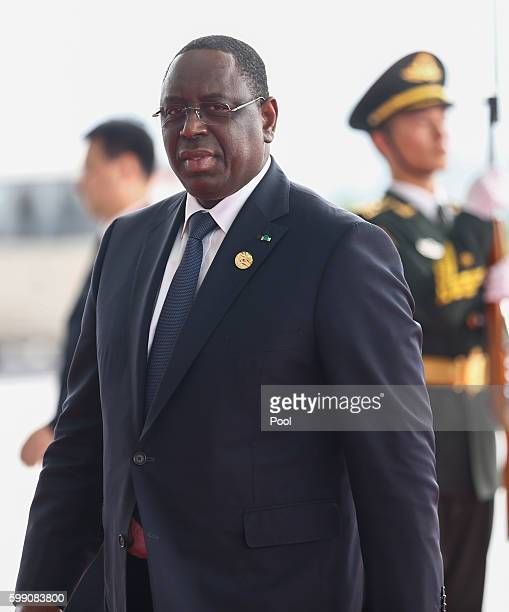 President of Senegal Macky Sall arrives at the Hangzhou International Expo Center on September 4 2016 in Hangzhou China World leaders are gathering...