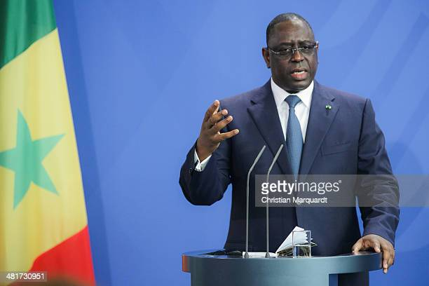 President of Senegal Macky Sall speak to the media with German Chancellor Angela Merkel after their meeting in the Chancellery on March 31 2014 in...