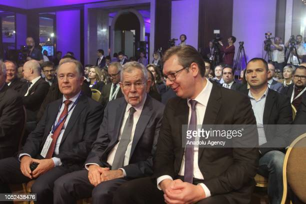 President of Serbia Aleksandar Vucic and President of Austria Alexander Van der Bellen attend Western Balkans and the European Union panel within the...