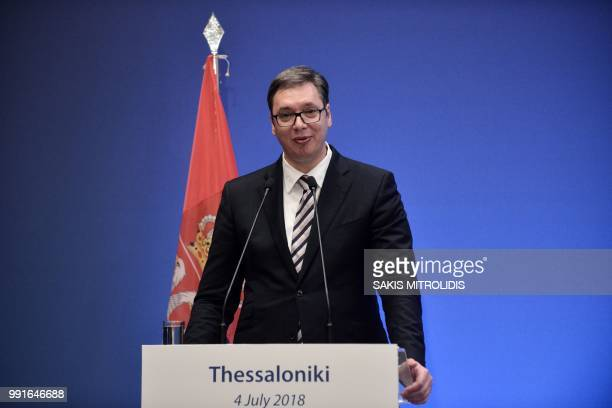 President of Serbia Aleksandar Vucic delivers a speech during the Quadrilateral Balkan Summit in Thessaloniki on July 4 2018