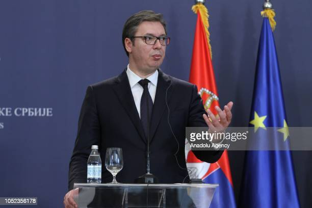 President of Serbia Aleksandar Vucic speaks during a joint press conference held with President of Austria Alexander Van der Bellen in Belgrade...