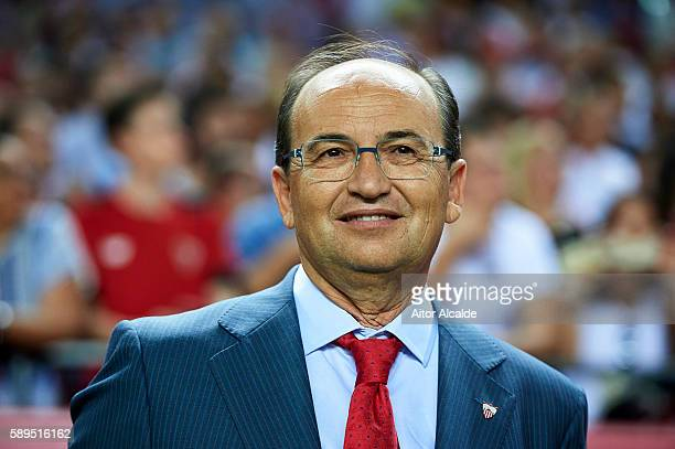 President of Sevilla FC Jose Castro Carmona looks on prior to the match between Sevilla FC vs FC Barcelona as part of the Spanish Super Cup Final 1st...