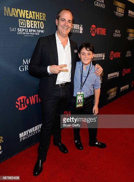 President of Showtime Networks Inc David Nevins and his son Jesse Nevins arrive at the VIP PreFight Party for 'High Stakes Mayweather v Berto'...
