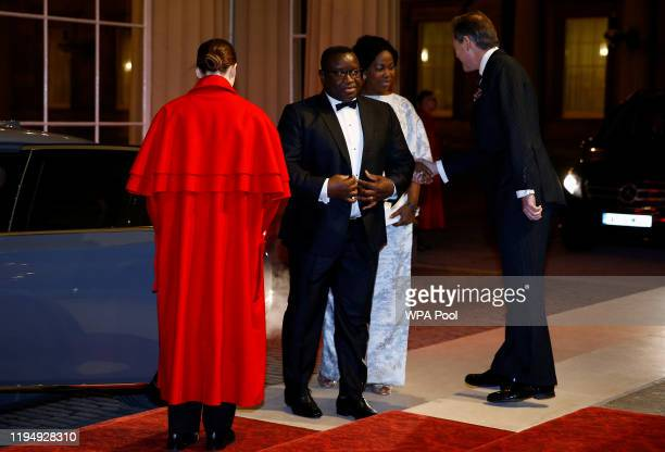 President of Sierra Leone Julius Maada Bio arrives as Prince William, Duke of Cambridge and Catherine, Duchess of Cambridge host a reception to mark...