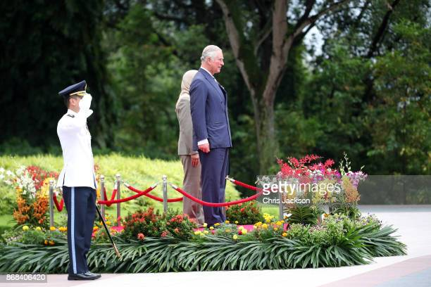 President of Singapore Halimah Yacob and Prince Charles Prince of Wales during the British Royals visit and official welcome to Istana Presidential...