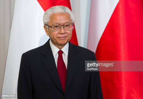 President of Singapore Tony Tan Keng Yam during media statements, after Singapore President visit in Poland. 22 May Warsaw, Poland