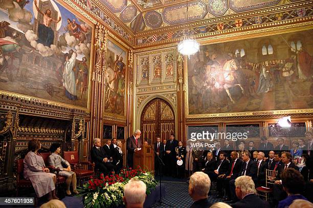 President of Singapore Tony Tan Keng Yam speaks to parliamentarians, and their guests in the Royal Robing Room at the Palace of Westminster on...