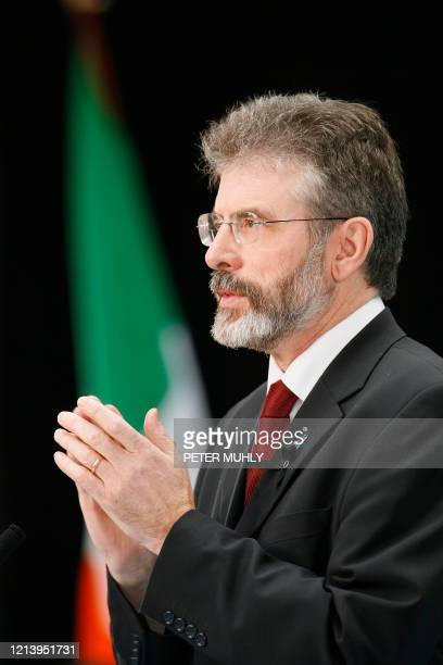 President of Sinn Fein Gerry Adams speaks at the extraordinary Ard Fheis to debate the contentious policing issue 28 January 2007 in Dublin Ireland....