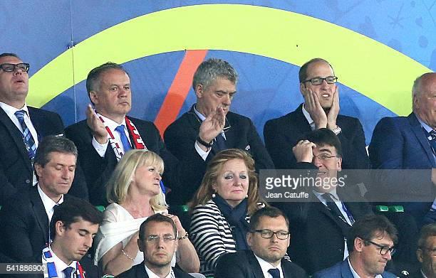 President of Slovakia Andrej Kiska and Prince William Duke of Cambridge react during the UEFA EURO 2016 Group B match between Slovakia and England at...