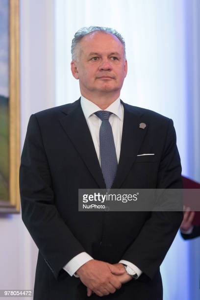 President of Slovakia Andrej Kiska attend the Poland's Independence 100th anniversary celebrations at the Belvedere Palace in Warsaw Poland on 8 June...