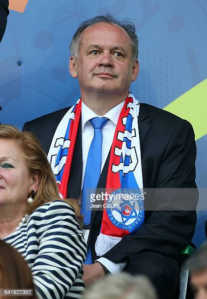 President of Slovakia Andrej Kiska attends the UEFA EURO 2016 Group B match between Slovakia and England at Stade GeoffroyGuichard on June 20 2016 in...