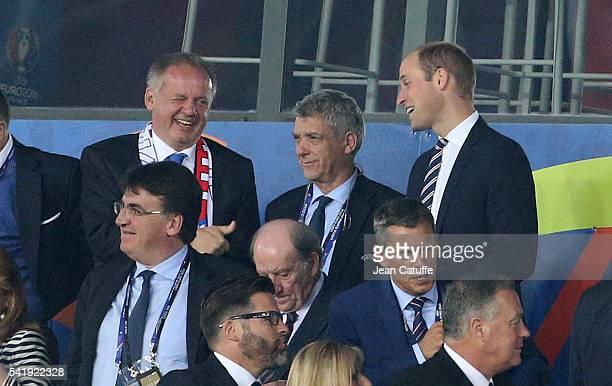 President of Slovakia Andrej Kiska chats with Prince William Duke of Cambridge during the UEFA EURO 2016 Group B match between Slovakia and England...