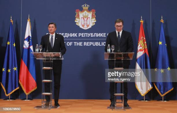 President of Slovenia Borut Pahor and Serbian President Aleksandar Vucic hold a joint press conference following their meeting in Belgrade Serbia on...