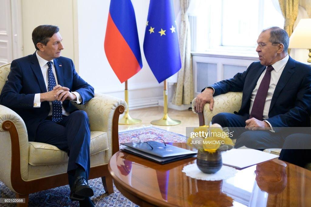 President of Slovenia Borut Pahor (L) meets with Russian Foreign Minister Sergei Lavrov in Ljubljana on February 21, 2018. / AFP PHOTO / Jure Makovec