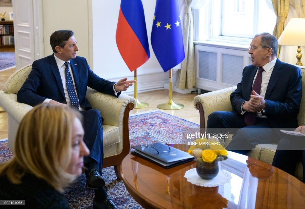 President of Slovenia Borut Pahor (C) meets with Russian Foreign Minister Sergei Lavrov in Ljubljana on February 21, 2018. / AFP PHOTO / Jure Makovec