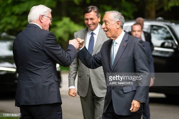 President of Slovenia Borut Pahor welcomes his German counterpart Frank-Walter Steinmeier and Portuguese counterpart Marcelo Rebelo de Sousa at the...