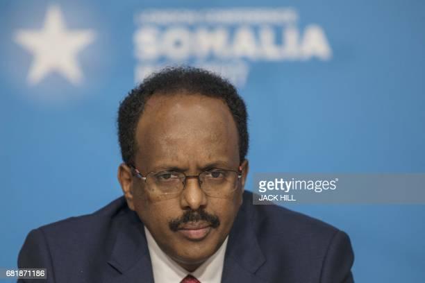 President of Somalia Mohamed Abdullahi Mohamed attends the London Somalia Conference at Lancaster House in London on May 11 2017 International...