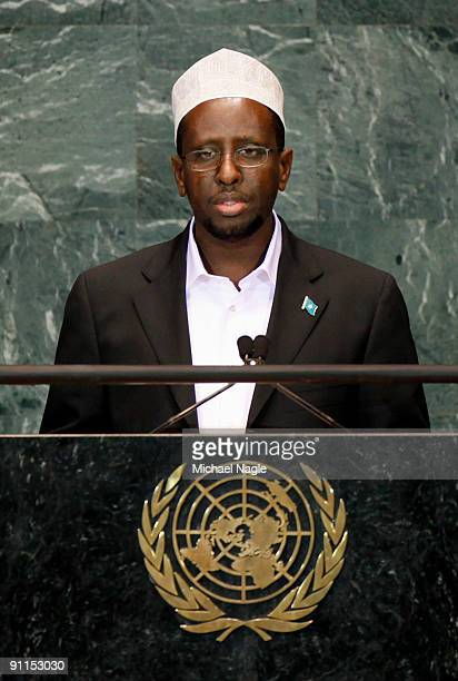 President of Somalia Sheikh Sharif Sheikh Ahmed addresses the United Nations General Assembly at the UN headquarters on September 25 2009 in New York...