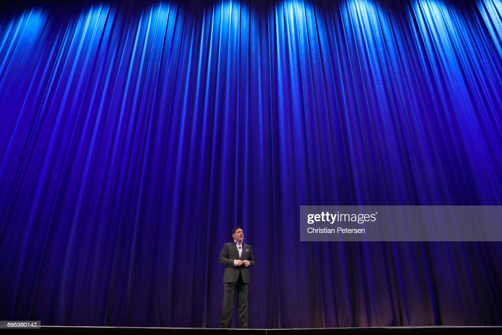 President of Sony Interactive Entertainment America, Shawn Layden speaks during the Sony Playstation E3 conference at the Shrine Auditorium on June 12, 2017 in Los Angeles, California. The E3 Game Conference begins on Tuesday June 13.