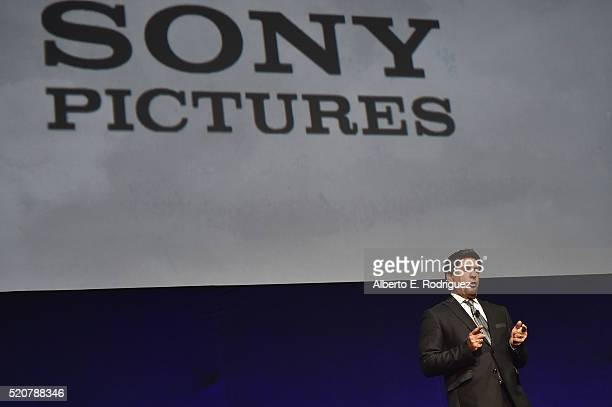 President of Sony Pictures distribution Rory Bruer speaks onstage during CinemaCon 2016 An Evening with Sony Pictures Entertainment Celebrating the...