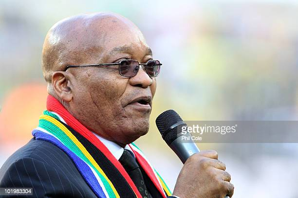 President of South Africa Jacob Zuma addresses the crowd before the 2010 FIFA World Cup South Africa Group A match between South Africa and Mexico at...