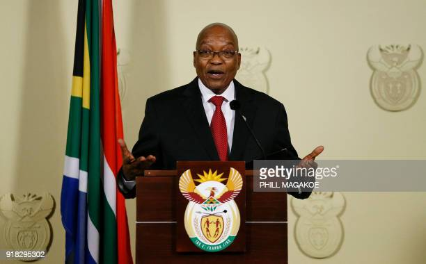 President of South Africa Jacob Zuma addresses the nation at the Union Buildings in Pretoria on February 14 2018 Zuma is addressing the nation after...