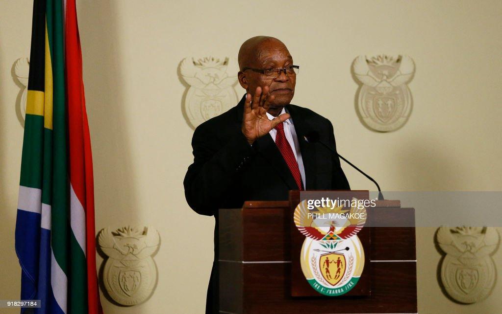 South African President Jacob Zuma announces his immediate resignation