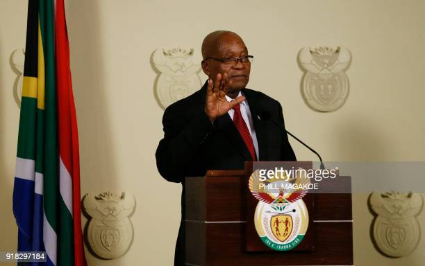 President of South Africa Jacob Zuma addresses the nation at the Union Buildings in Pretoria on February 14, 2018. South African President Jacob Zuma...