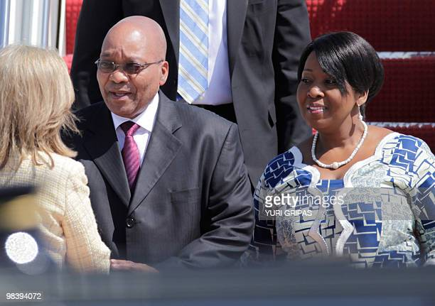 President of South Africa Jacob Zuma and his wife Thobeka arrive at the Andrews Air Force base for the Nuclear Security Summit in Washington on April...