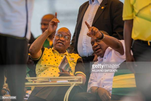 President of South Africa Jacob Zuma and President of Kenya Uhuru Kenyatta attend the African National Congress's 106th anniversary celebrations at...