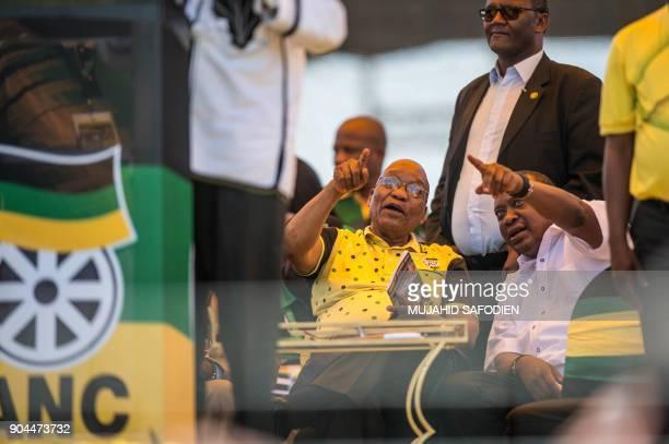 President of South Africa Jacob Zuma and President of Kenya Uhuru Kenyatta attend the African National Congress's 106th anniversary celebrations at...