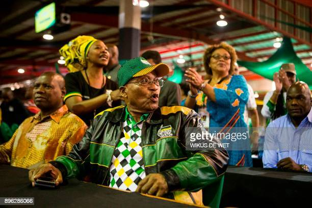 President of South Africa Jacob Zuma attends the last day of the NASREC Expo Centre in Johannesburg on December 20 during the African National...