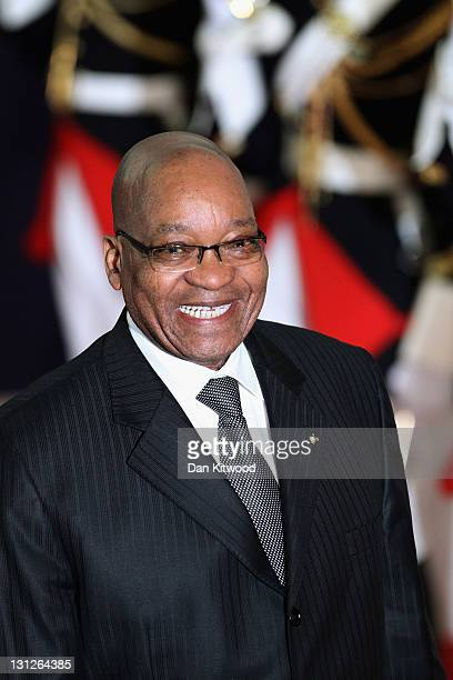 President of South Africa Jacob Zuma leaves the conference centre after the first day of the G20 Summit on November 3, 2011 in Cannes, France....