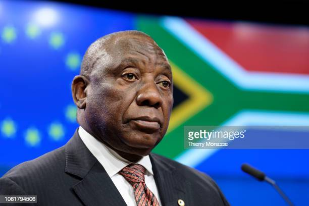 President of South Africa Matamela Cyril Ramaphosa is talking to media at the end of an EU - South-Africa Summit meeting on climate change, migration...