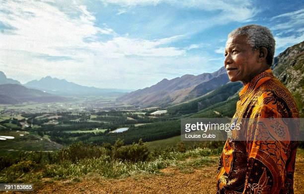 President of South Africa Nelson Mandela at one of his favourite view sites overlooking the vineyards of the Franschhoek valley Franschhoek Western...