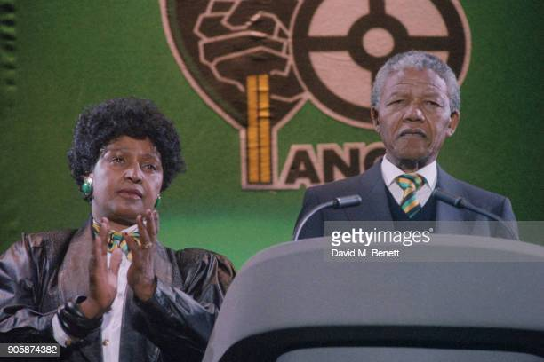 President of South Africa Nelson Mandela at Wembley with his wife Winnie in occasion of the 'Nelson Mandela: An International Tribute for a Free...